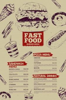 Modello di menu del ristorante fast food