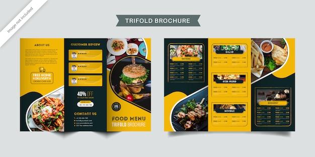 Fast food restaurant menu trifold brochure template