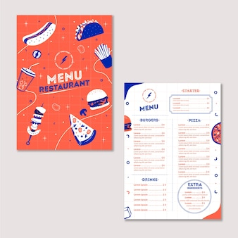 Fast food restaurant menu with products and prices