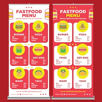 Fast food restaurant roll up banner print template in flat design style