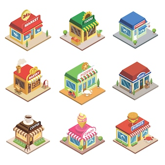 Fast food restaurant and shop buildings