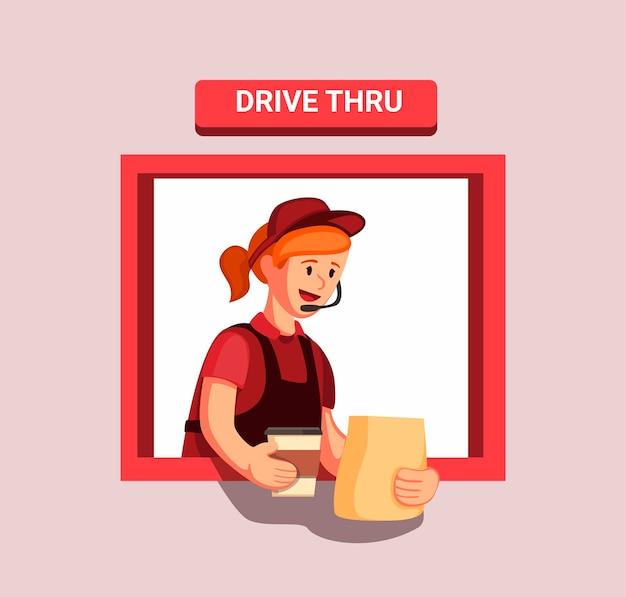 ファーストフードのレストランの労働者の準備ができて、ドライブスルーウィンドウで顧客に注文を与える