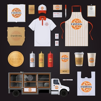 Fast food restaurants chain corporate identity templates set with pepperoni pizza design