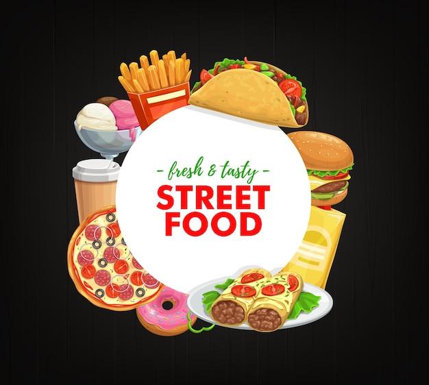 Фаст-фуд круглый баннер буррито, чизбургер и тако с пакетом чипсов