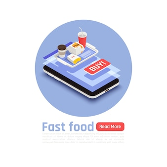 Fast food round design concept with tray of hamburger fried potatoes and coffee isometric