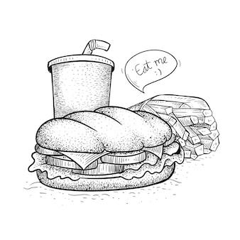 ファーストフードサンドイッチパック。手描き風サンドイッチイラスト