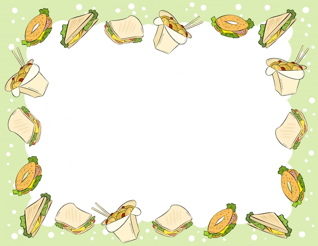 Fast food and sandwiches in comic style doodles top view frame