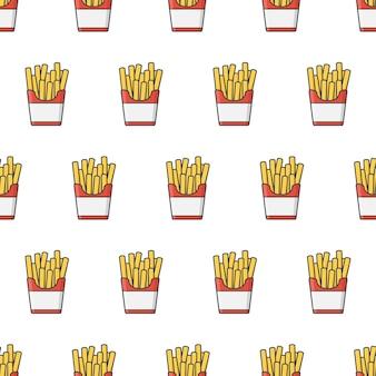 Бесшовные шаблон быстрого питания. картофель фри в бумажной коробке тема иллюстрации