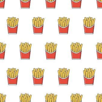 패스트 푸드 완벽 한 패턴입니다. 감자 튀김 테마 일러스트