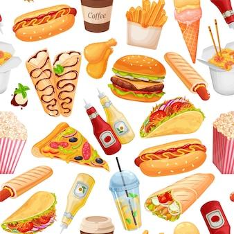 패스트 푸드 원활한 패턴, 벡터 일러스트 레이 션입니다. 테이크아웃 카페 디자인을 위한 크레페, 햄버거, 웍 국수, 핫도그, 샤와르마, 피자 등이 있는 배경. 길거리 음식의 삽화.