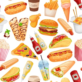 Fast food seamless pattern, vector illustration. background with crepes, hamburger, wok noodles, hot dog, shawarma, pizza and others for takeaway cafe design. illustration of street food.