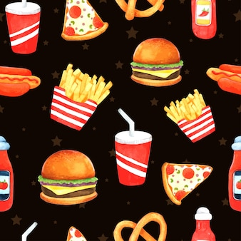 Fast food seamless pattern in watercolor