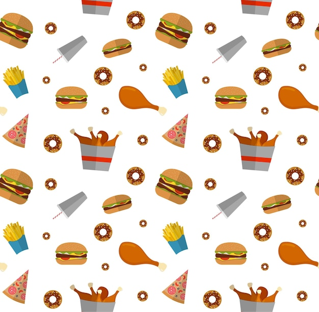 Fast food seamless pattern with hamburger, cheeseburger, fried chicken, french fries, pizza, donut.
