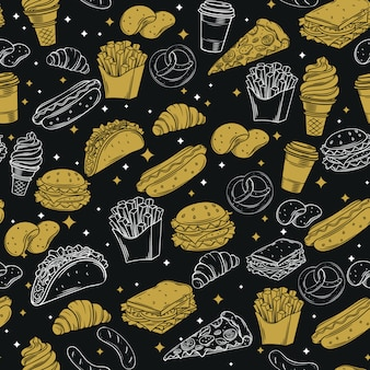 Fast food seamless pattern with