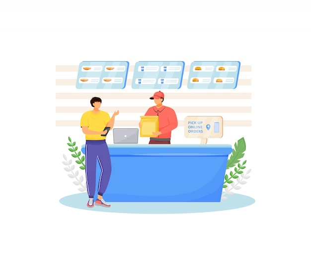 Fast food seller and buyer  color  faceless characters. restaurant-controlled online food ordering, cafe cash register isolated cartoon illustration for web graphic  and animation