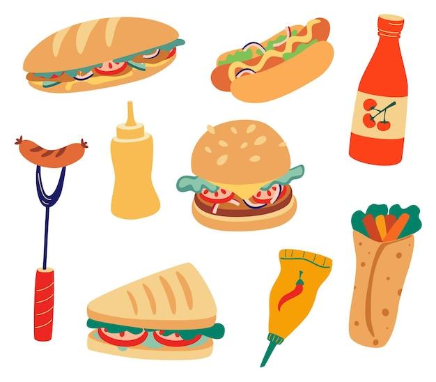 Набор быстрого питания. коллекция фаст-фуда, такая как бургер, сэндвич, колбаса в тесте, колбаса на гриле, кетчуп, васаби, горчица, шаурма. значок продовольственный набор. плоские векторные иллюстрации шаржа