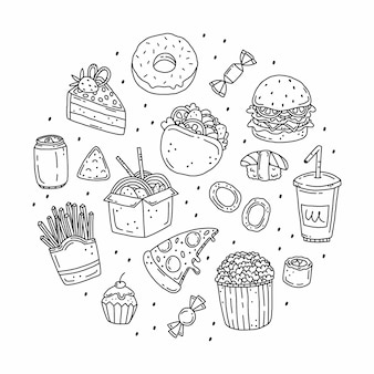Fast food set in doodle style in the shape of a circle