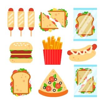 ランチネットメニューのデザインのファーストフードセット。白い背景に、ハンバーガーのピザソーセージ生地サンドイッチフライドポテトスナック-フラット図に分離された不健康な屋台の食べ物