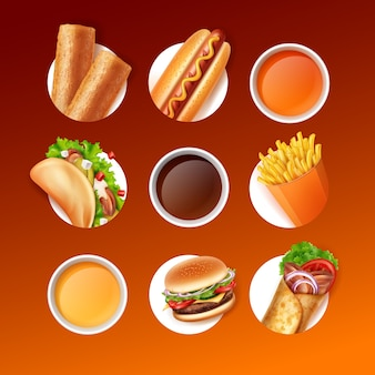 Fast food set of fried patty, hot dog, taco, french fries, burger, burrito and sauces or drinks on gradient background in brown colors