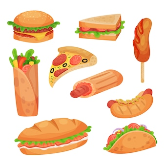 Fast food set  illustrations on a white background