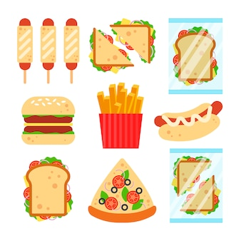 Fast food set for luncheonette menu design. unhealthy street food isolated on white background, hamburger pizza sausage dough sandwich french fries snack - flat illustration