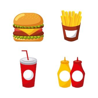 아이콘 메뉴 건강에 해로운 식당의 패스트 푸드 세트