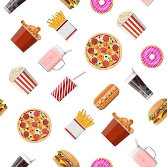 ファーストフードセットのシームレスなパターン。バーガーピザ、ホットドッグ、フライドチキン、フライドポテト、ポップコーン、ドーナツ、ミルクカクテルコーラソーダ、アイスクリーム、紙ガラス。ファストフード。フラットスタイルのベクトル図
