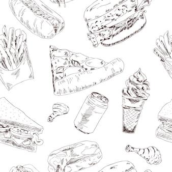Fast food sketch seamless pattern