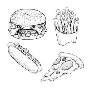 패스트 푸드 스케치 세트. 햄버거, 감자 튀김, 핫도그, 페퍼로니 피자 조각. 손으로 그린 그림
