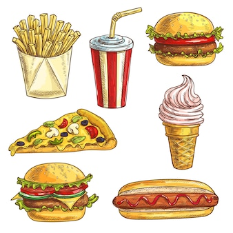 Fast food sketch set. isolated elements of burger, hamburger, cheeseburger, soda drink in cup, ice cream cone, pizza slice, hot dog, french fries in box