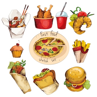 Fast food sketch set