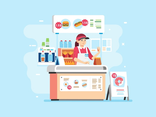 Fast food small stand selling hamburger, hotdog, doughnout and beverage with woman character as cashier, wearing uniform and hat. used for poster, website image and other