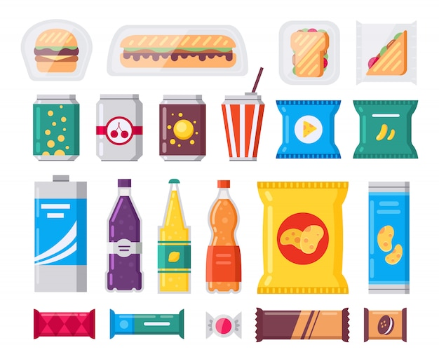 Fast food snack and drink pack, set in flat style. vending products collection. snacks, drinks, chips, cracker, coffee, sandwich isolated on white background.
