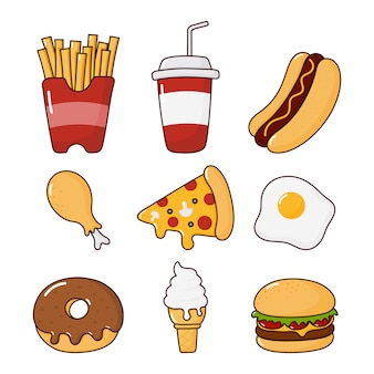 Fast food snacks icons set. drinks and dessert isolated on white.