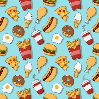 Fast food snacks seamless pattern. drinks and dessert isolated on blue.