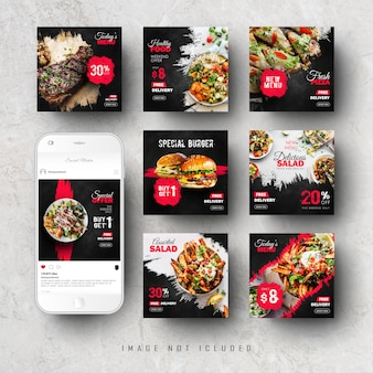 Fast food social media instagram feed post banner template