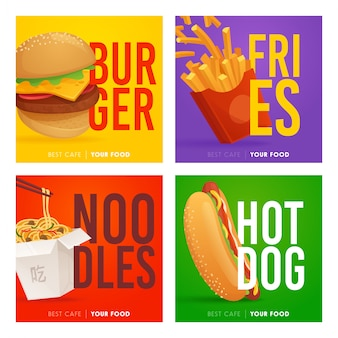 Fast food social media instagram post template