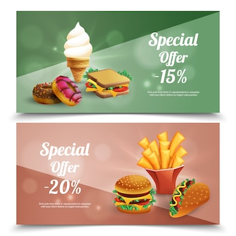 Fast food special offer horizontal banners set with burgers french fries ice cream donuts sandwich cartoon isolated vector illustration