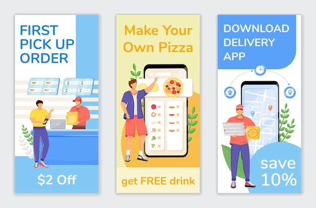 Fast food special offers flyers flat templates set. first customer discount printable leaflet design layout. delivery economy advertising web vertical banner, social media stories
