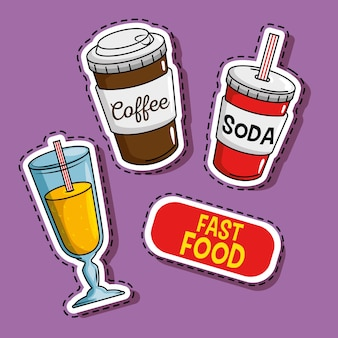 Fast food stickers pop art