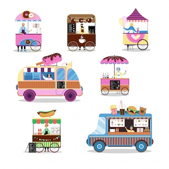 Fast food street asian business service travel illustration on outdoor isolated on white. street market places.