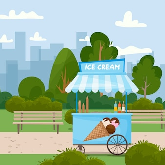Fast food street ice cream cart food in the park