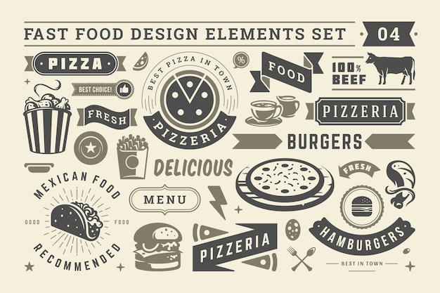 Fast food and street signs and symbols with retro typographic design elements vector set