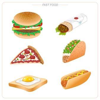 ハンバーガー、ピザ、タコス、ホットドッグ、ブリトー、エッグトーストなどのファーストフード。不健康な食事。