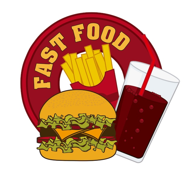 Fast food symbol over white background vector illustration