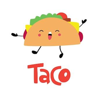 Значок фаст-фуда taco милый счастливый смешной тако мексиканская кухня можно использовать для наклеек для баннеров