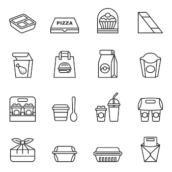 Fast food. take away. package icons for delivery.