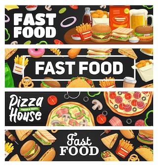 ファーストフード、テイクアウトの食事バナー、ハンバーガー、ホットドッグ、ピザ、サンドイッチ、ソーダドリンク、フライドポテト、タコス。テイクアウトのファーストフードビストロスナック、ジャンクフードチーズバーガー、ハンバーガー、ナゲットカフェメニュー