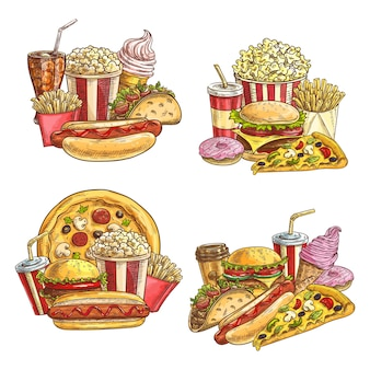 Fast food takeaway meals and snacks. street cafe burgers and cold drinks.