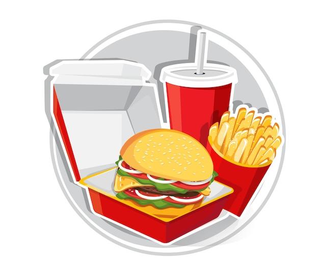 Fast food, tasty set fast food   isolated